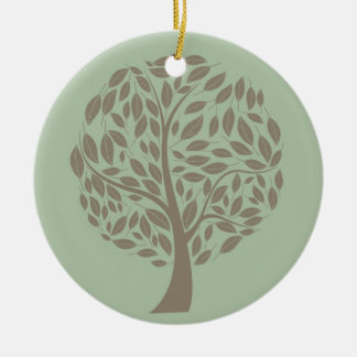 Vert sauge et arbre stylisé mol de Brown Eco Ornement Rond En Céramique