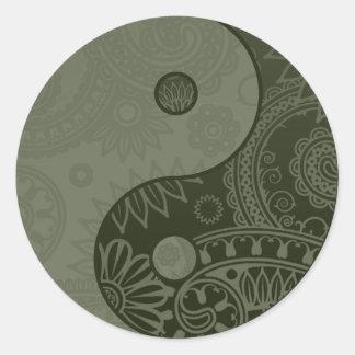 Vert sauge modelé de Yin Yang Sticker Rond