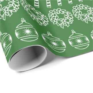 Vert simple/blanc rame le motif de police papier cadeau