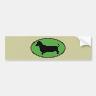 Vert-Simple ovale de teckel Autocollant De Voiture