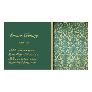 Vert vintage de damassé cartes de visite professionnelles