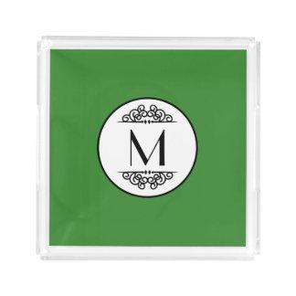Vert vintage de monogramme - plateau carré