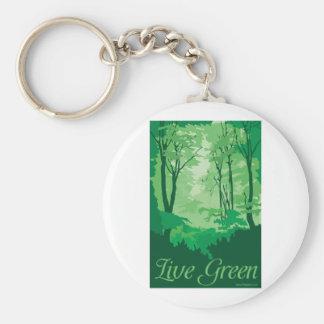 Vert vivant - arbre Hugger Porte-clé Rond