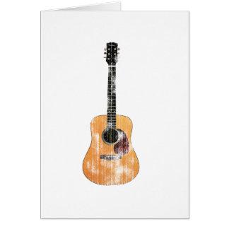 Verticale de guitare acoustique affligée carte de vœux