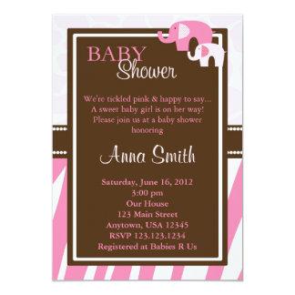 Verticale d'invitation de baby shower d'éléphant carton d'invitation  12,7 cm x 17,78 cm