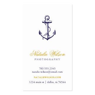 Verticale vintage d ancre de bleu marine cartes de visite personnelles