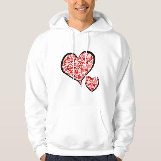 Veste À Capuche Amour, Romance, coeurs - blanc rouge
