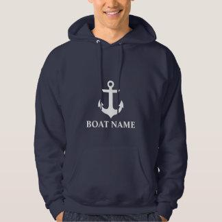 Veste À Capuche Bleu nautique d'ancre de nom de bateau