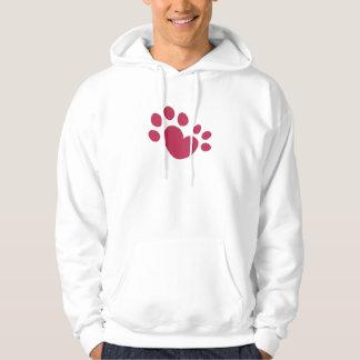Veste À Capuche Coeur Polydactyl d'empreinte de patte de chat