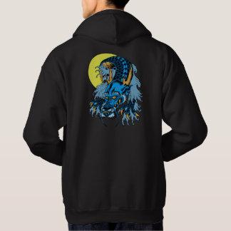 Veste À Capuche Dragon asiatique bleu d'art de pleine lune
