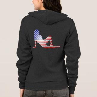 Veste À Capuche Drapeau américain de silhouette de fille