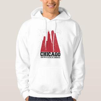 Veste À Capuche Horizon rouge de ville de Chicago, l'Illinois  