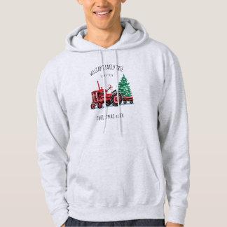Veste À Capuche L'arbre de Noël vintage rouge de tracteur ajoutent