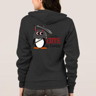 Veste À Capuche Le pingouin mauvais mignon s'exécutent dedans