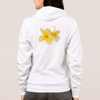Veste À Capuche Le Plumeria fleurit le Frangipani jaune blanc