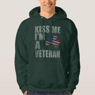 Veste À Capuche Patriotique embrassez-moi que je suis un vétéran