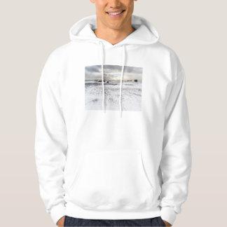 Veste À Capuche Paysage marin mousseux pâle d'océan, Islande