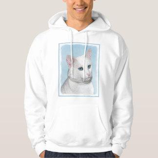 Veste À Capuche Peinture blanche de chat - art original mignon de