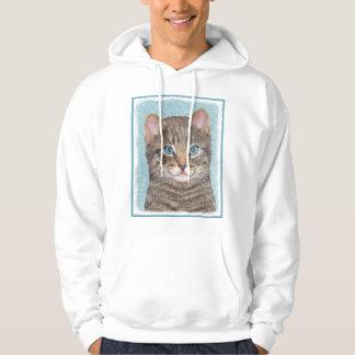 Veste À Capuche Peinture grise de chat tigré - art original mignon