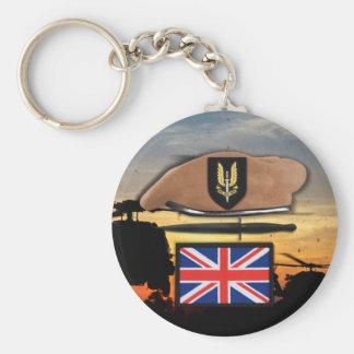 vétérans britanniques de béret d'insigne du porte-clé rond