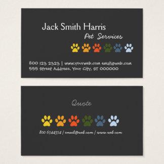 Vétérinaire coloré élégant d'animal familier de cartes de visite