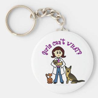 Vétérinaire féminin léger porte-clé rond