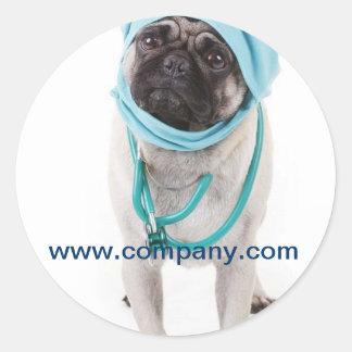 Vétérinaire mignon moderne de service d'animal adhésifs ronds
