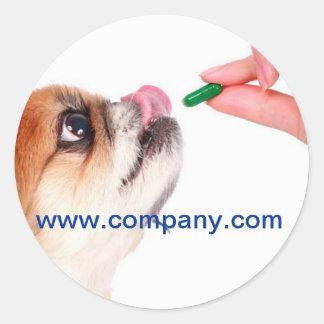 Vétérinaire mignon moderne de service d'animal sticker rond