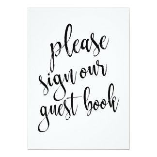 Veuillez signer notre signe abordable de livre carton d'invitation  12,7 cm x 17,78 cm