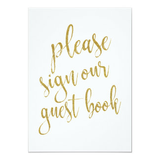Veuillez signer notre signe abordable d'or de carton d'invitation  12,7 cm x 17,78 cm