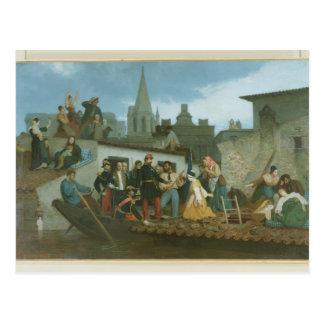 Victimes d'inondation de visite du napoléon III de Carte Postale