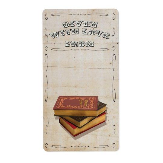Victorien donné avec l'ex-libris d'amour étiquette d'expédition