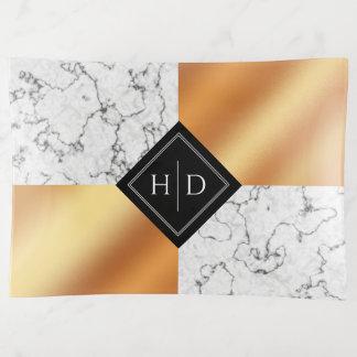 Vide-poche Aluminium élégant de marbre et d'en cuivre