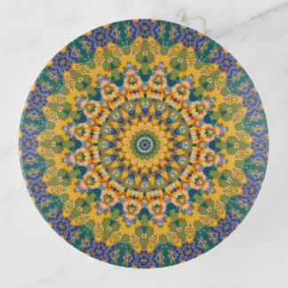 Vide-poche Art bleu, vert, et jaune de mandala