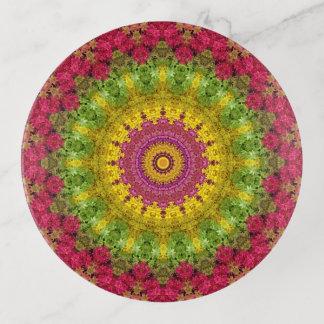 Vide-poche Art floral jaune, vert, et rose de mandala