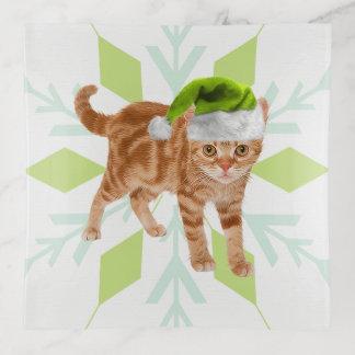 Vide-poche Chat tigré orange dans le casquette vert d'Elf