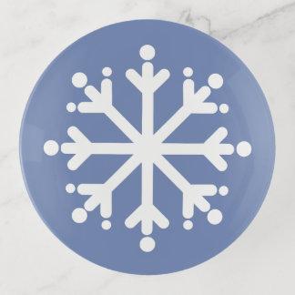 Vide-poche Flocon de neige blanc sur le gris bleu
