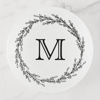 Vide-poche Guirlande noire de feuille avec le monogramme