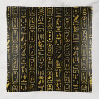 Vide-poche Hiéroglyphes antiques égyptiens d'or sur le noir