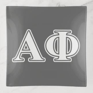 Vide-poche Lettres blanches et argentées d'alpha phi