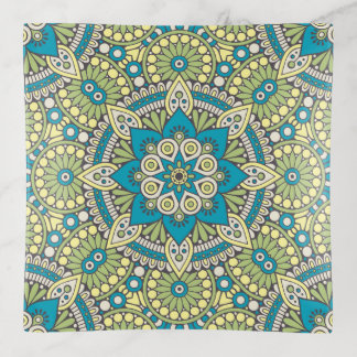 Vide-poche Mandala floral vert et bleu