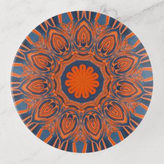 Vide-poche Mandala orange de bleu marine