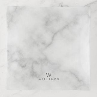 Vide-poche Marbre blanc avec le monogramme et le nom