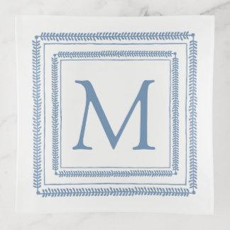 Vide-poche Monogramme de guirlande de carré bleu et blanc
