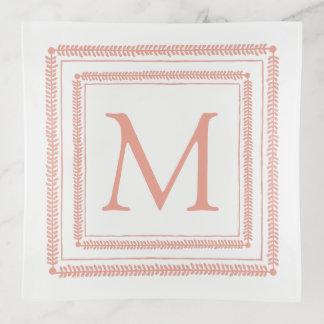 Vide-poche Monogramme de guirlande de carré rose et blanc