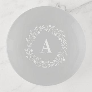 Vide-poche Monogramme fantaisie gris et blanc de guirlande