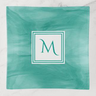 Vide-poche Monogramme moderne de marbre subtil vert turquoise