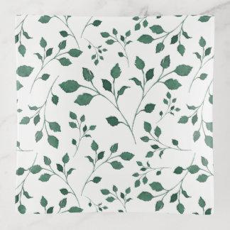 Vide-poche Motif vert rustique de feuillage d'aquarelle