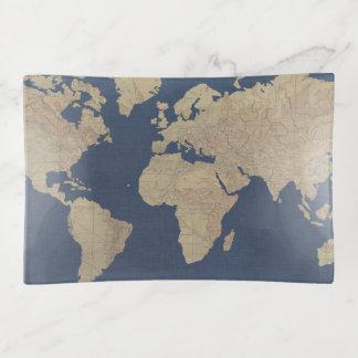 Vide-poche Or et carte bleue du monde