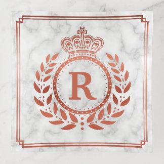 Vide-poche Or rose de laurier de guirlande de marbre décoré